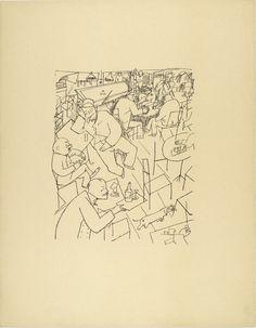 Joint (Kaschemme) from The First George Grosz Portfolio (Erste George Grosz-Mappe). Line Drawing, Drawing Sketches, Art Drawings, George Grosz, New Objectivity, Summer Painting, Vintage Artwork, Mark Making, Dibujo
