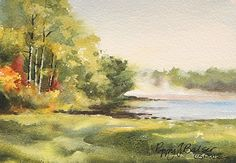 Mist on the Joggins by Poppy Balser Watercolor ~ 5 x 7