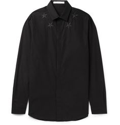 Decorated with <a href='http://www.mrporter.com/mens/Designers/Givenchy'>Givenchy</a>'s signature star embroidery, this Cuban-fit shirt will infuse your outfit with rakish charm. Cut from crisp cotton poplin, this style features a concealed placket for a clean line.