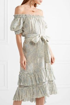 Zimmermann - Helm Off-the-shoulder Tiered Printed Linen Dress - Cream Sash Belts, Printed Linen, Ruffle Skirt, Off The Shoulder, Cute Outfits, Feminine, Casual, Prints, Clothing Ideas