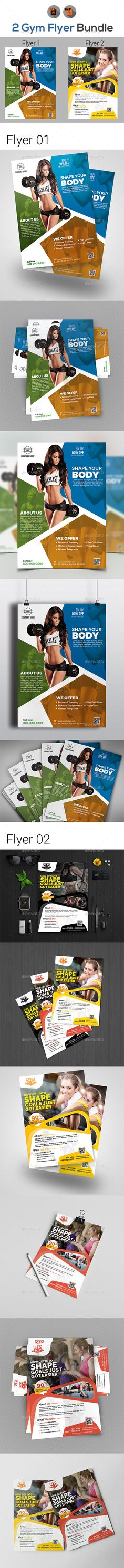 Gym Flyers Bundle — Vector EPS #gym #fitness pamphlet • Download ➝ https://graphicriver.net/item/gym-flyers-bundle/19407469?ref=pxcr