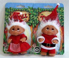 vintage Santa Claus and Mrs. Claus DAM troll dolls