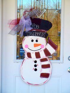Christmas Door Hangers | Christmas Snowman Wooden Door Hanger - $30.00 ... | Wood Door Hangers