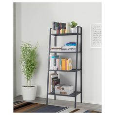 IKEA - LERBERG, Shelf unit, dark grey, Shelves of various depths mean you have space for everything from trinkets to books. The open shelves give an easy overview and easy reach. Kallax, Lerberg Ikea, Cube Storage Unit, Etagere Design, Hemnes, Ladder Bookcase, Clean Design, New Room, Open Shelving