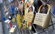 Love Locks attached to a fence in Shoreditch, London