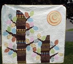quilt with sun and trees