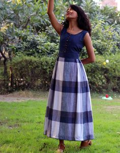 Aurora Blue Check Flared Dressfrom the house of Anecdotes. What is it about the color blue that calms Western Dresses, Blue Check, Designer Wear, Flare Dress, Kurti, Color Blue, Aurora, Midi Skirt, Classy