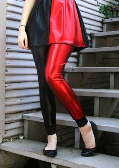 Red and Black Harley Quinn Metallic Leggings XS S M L XL 2XL 3XL Black Lace Trim plus size punk goth vinyl stretch pants Halloween cosplay