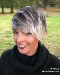 We love how Tik Tok allows us to add music to these cool videos # short hair styles for plus size 2019 Queen of Stores with her Pixie 360 Short Hair Model, Short Grey Hair, Long Curly Hair, Curly Hair Styles, Short Pixie Haircuts, Pixie Hairstyles, Short Hairstyles For Women, Short Haircut, Sassy Haircuts