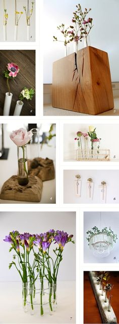 love these test tube vases! could easily make one with a blog of wood and drill out notches