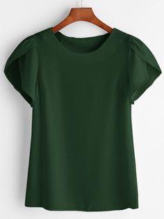 Petal Sleeve Chiffon Blouse -SheIn(Sheinside)