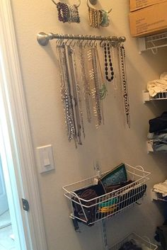 Closet Organisation and Jewellery Storage. I LOVE the use of bathroom hardware for jewellery! Closet Storage, Storage Bins, Closet Organization, Jewelry Organization, Storage Ideas, Diy Storage, Purse Storage, Attic Storage, Wall Storage