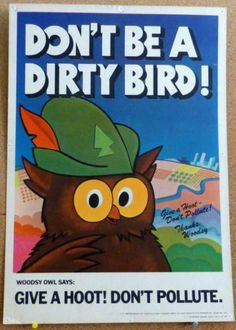 Woodsy Owl Give A Hoot Don't Pollute Original Forest Service Promo Poster Trash Quotes, Save Mother Earth, Smokey The Bears, Nature Posters, Forest Service, Vintage Cards, Vintage Images, Book Illustration, Childhood Memories