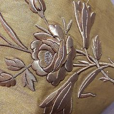 Antique French Applique Gold Silver Metallic Embroidered Rose Flowers