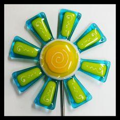 Glassworks Northwest - Aqua and Lemongrass Flower Stake - Fused Glass Garden Art