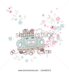 """Just Married"" illustration of bride and groom in a car on wedding day by Ivana Forgo, via Shutterstock"