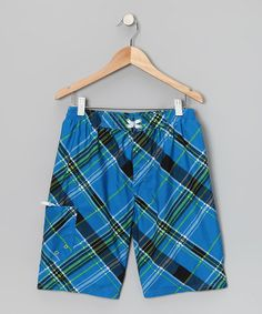 Take a look at this Blue Plaid Boardshorts - Boys by Jantzen on #zulily today!