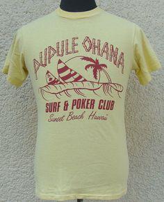 Vintage 80's Pupule Ohana Surf & Poker Club t shirt S