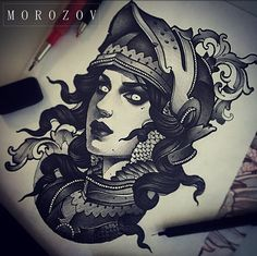 Tattoo Flash neotraditional black and grey female soldier. By Vitaly Morozov in Moscow, Russia.