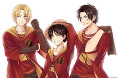 """mamorin: """"ASL x Quidditch They're in the same house; you can't make me separate them :v """" Jolly Roger, One Piece Anime, Good Manga, Manga Games, Hogwarts, Fandoms, Fan Art, Adventure, Collection"""