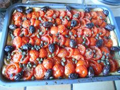 Tomato, Olive & Caper Tart #Greece - perfect summer food :)