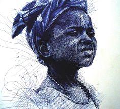 Amazing pen drawing by Enam Bosokah