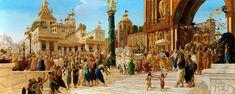 "All Dwaraka Citizens are greeting  lord Krishna   ""Museum of Spiritual Art"" in Florence  artist: Jnananjana das (Giampaolo Tomassetti)"