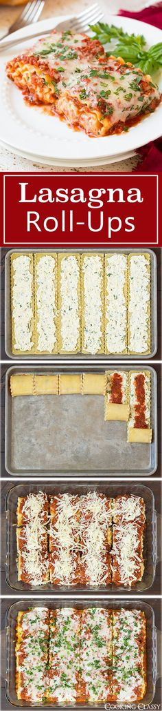 Lasagna Roll Ups - this has been one of my go to dinner recipes for years! I love that you can make half and freeze half or make a full batch because the left overs are just as good! So good I even make them for company!: easy dinner recipes for family Think Food, I Love Food, Food For Thought, Good Food, Yummy Food, Delicious Meals, Pasta Recipes, Beef Recipes, Cooking Recipes