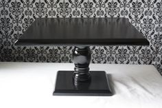 14 inch Square Black Cake Pedestal Stand, wedding cake stand, wood cake stand via Etsy