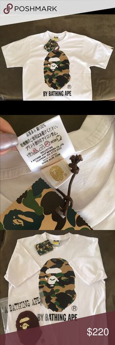 BAPE Shirt Camo A BATHING APE Large Authentic BAPE Shirt Camo A BATHING APE Large Authentic Guaranteed. Same Day Shipping. If you like this, you'll definitely love my other listings. check em out ^_^  NO TRADES Shirts Tees - Short Sleeve