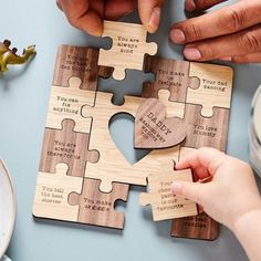 Personalised Reasons I Love You Wooden Jigsaw Puzzle by Wood Paper Scissors, the perfect gift for Explore more unique gifts in our curated marketplace. Personalised Jigsaw Puzzle, Wooden Jigsaw Puzzles, 3d Puzzles, Puzzle Piece Crafts, Puzzle Pieces, Reasons I Love You, Wooden Gifts, Family Gifts, Walnut Wood