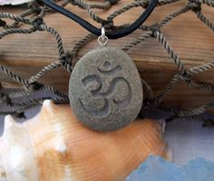 Om symbol - Natures first Breath necklace - Engraved Beach Stone Pendant