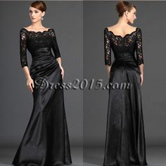 Long Sleeves Black Lace Mother of the Bride Dresse Sheer Neck Formal Occasion Evening Dresses Plus Size Ruffles Prom Party Gowns Evening Dresses With Sleeves, Evening Dresses Plus Size, Black Evening Dresses, Black Prom Dresses, Formal Dresses, Dresses 2014, Dresses Online, Formal Wear, Dress Black