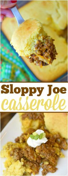 This easy sloppy joe casserole recipe needs just 5 simple ingredients to make! Delicious homemade sloppy joes in a cornbread casserole you're sure to love! via @thetypicalmom