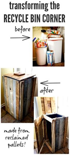 How to Build a Pallet Recycle Bin or Trash Can - 150 Best DIY Pallet Projects and Pallet Furniture Crafts - Page 39 of 75 - DIY & Crafts