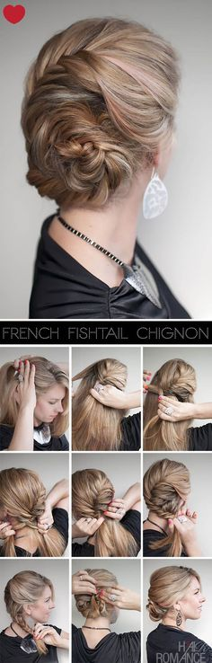 DIY fishtail chignon up do