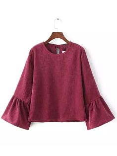 Burgundy Bell Sleeve Crop Corduroy Blouse