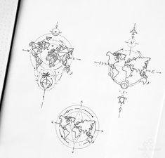 tattoo tattoo tattoo tattoo tattoo tattoo tattoo ideas designs ideas ideas in memory of ideas unique.diy tattoo permanent old school sketches tattoos tattoo Skull Tattoos, Mini Tattoos, Tatoos, Globus Tattoos, Karten Tattoos, World Map Tattoos, Muster Tattoos, Inspiration Tattoos, Nature Tattoos