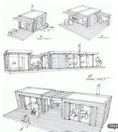 Post-Fad Prefab: Retro-Modern Cabins for Neo-Rustic Living: log cabin design drawings Mini Loft, Prefab Cabins, Prefab Homes, Prefabricated Houses, House Design Drawing, House Drawing, Drawing Style, Sketch Design, Low Cost Housing