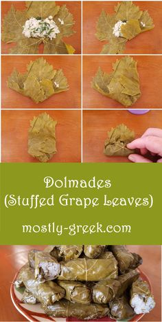 This is a classic Greek dish made with fresh grape leaves and stuffed with an herb-seasoned rice filling. Can be served as an appetizer or even part of the main meal! No Dairy Recipes, Greek Recipes, Cooking Recipes, Vegetarian Appetizers, Vegetarian Recipes, Vegan Vegetarian, Fresh Grape Leaves Recipe, Greek Stuffed Grape Leaves Recipe, Dolmades Recipe