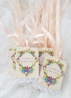 Wedding Rose Shabby Lace French Chic Hang Tags Gift Labels Wedding Bride Shower
