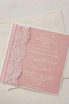 #Pastel pink wedding ... Lace wedding invitation vintage romantic pink pastel color