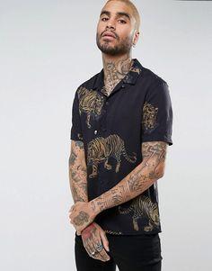 AllSaints - Chemise à manches courtes coupe classique avec imprimé tigre