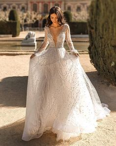 10 Wedding Dress Designers You Want To Know About ❤ wedding dress designers sexy deep v neckline with illusion long sleeves sequins julie vino #weddingforward #wedding #bride