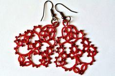 Rot Tatting Spitze Ohrringe hergestellt in Italien von Ilfilochiaro