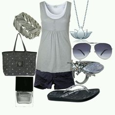 Grey outfit, cute.