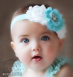 aqua and white shabby chic baby headband, pink flower headband, baby girl headband, newborn toddler headband Cool Baby, Cute Baby Boy, Cute Kids Pics, Cute Baby Girl Pictures, Cute Little Baby, Baby Love, Cute Babies, Baby Girls, Vintage Headbands