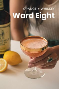 The Ward 8 is like a light and fruity version of the whiskey sour cocktail. An easy recipe that's refreshing and delicious. Ward 8 Cocktail Recipe, Sour Cocktail, Ward 8 Recipe, Drinks With Grenadine, Orange Juice Cocktails, Summer Cocktails, Whiskey Drinks, Bourbon Whiskey, Bourbon Recipes