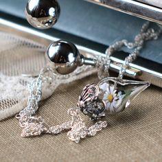 White Daisy Flower Tiny Glass Terrarium Necklace by WoodlandBelle, $148.00