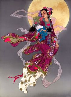 Kwan yin / moon goddess  (the detail and vibrancy of her robes - and the silhouette in the moon. Beautiful)